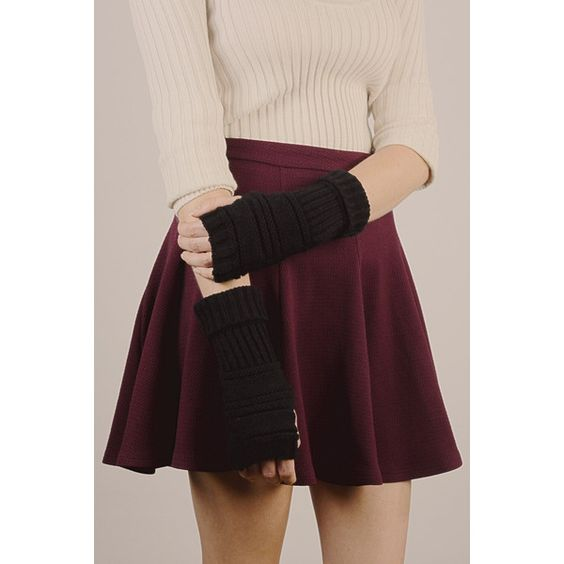 Leto Ribbed Knit Arm Warmers ($14) ❤ liked on Polyvore featuring accessories, black and black arm warmers