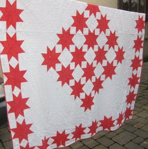 Red and White antique quilt Ohio Stars by fabriquefantastique, $98.00