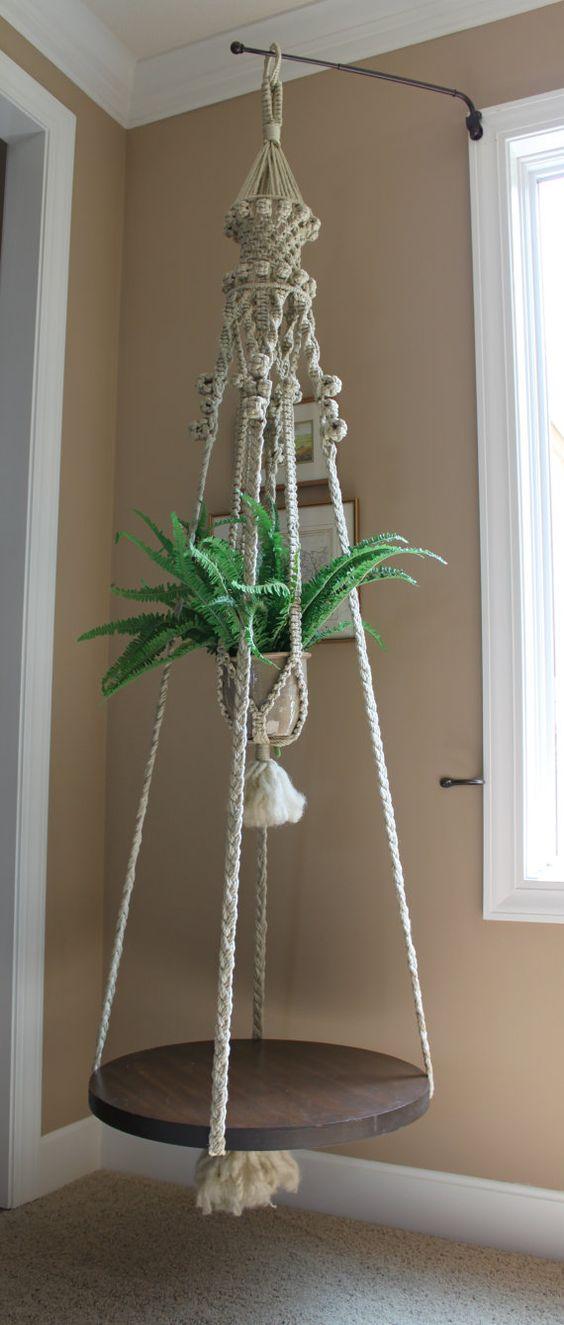 fabulous handmade hanging macrame plant holder and table. Black Bedroom Furniture Sets. Home Design Ideas