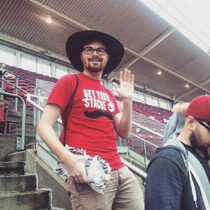 #tbt to Patrick one of our editors rocking an awesome hat during our #teambonding at the Cincinnati Reds game earlier this summer #hatstyle #officefun @redsbaseball