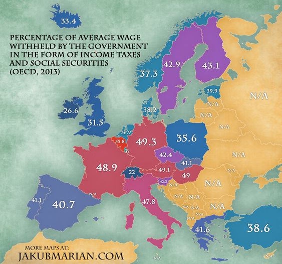 Here is a fascinating map about income taxes and social securities around Europe. Pinned by #Europass