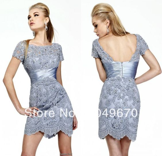 Free Shipping New Fashion 2014 Scoop Short Sleeves Lace Short Cocktail Dresses Party Gowns For Girls N016