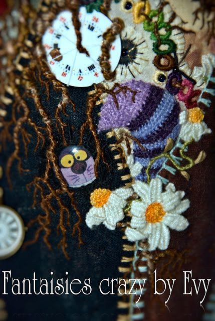 broderie en relief by Evelyne Mauvilly link http://www.fantaisiescrazybyevy.blogspot.com/