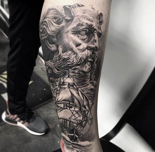 Custom Black And Grey Poseidon Portrait Tattoo By Ramon At Certified Tattoo Studios Denver Co Jpg Tattoo Studio Tattoos Portrait Tattoo