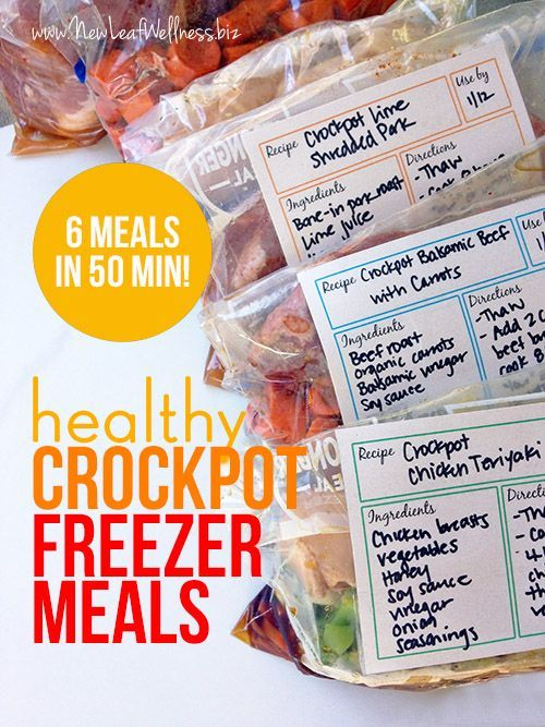 Six Healthy Freezer Crockpot Meals in 50 Minutes: