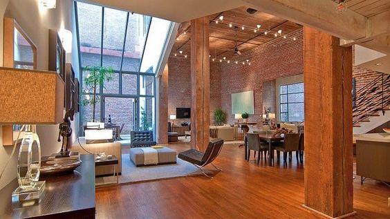 Loft com Estilo Industrial e Design Incrível-salas integradas e terraço ao fundo
