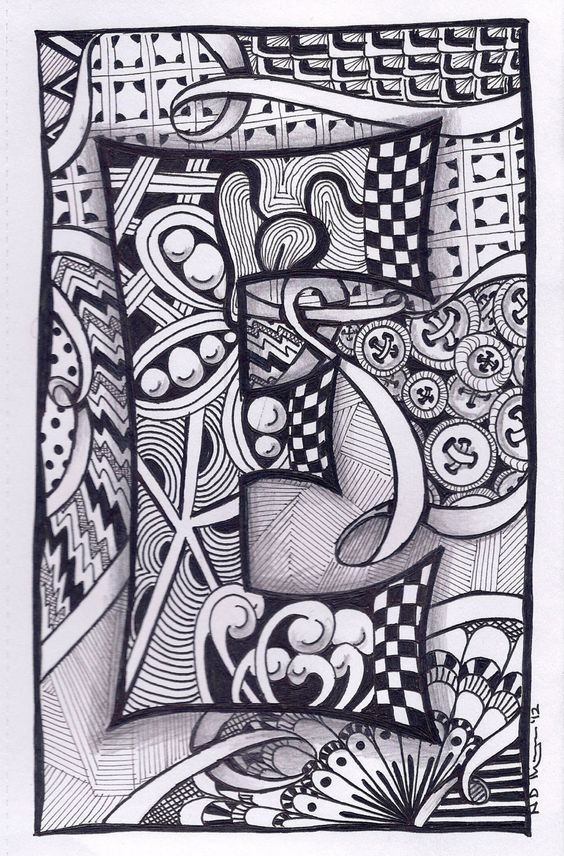 Zentangle Letter E ZebrA Letters name bunting by