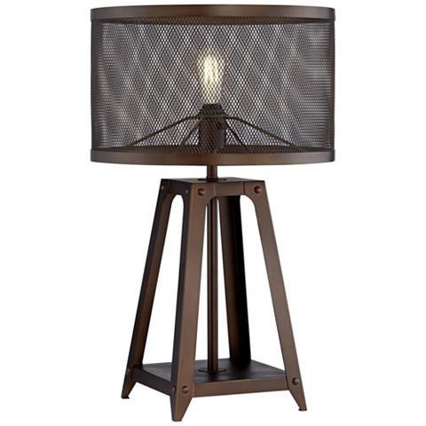 Gabe Metal Mesh Shade Farmhouse Table Lamp 46e43 Lamps Plus Lamp Metal Table Lamps Farmhouse Table Lamps