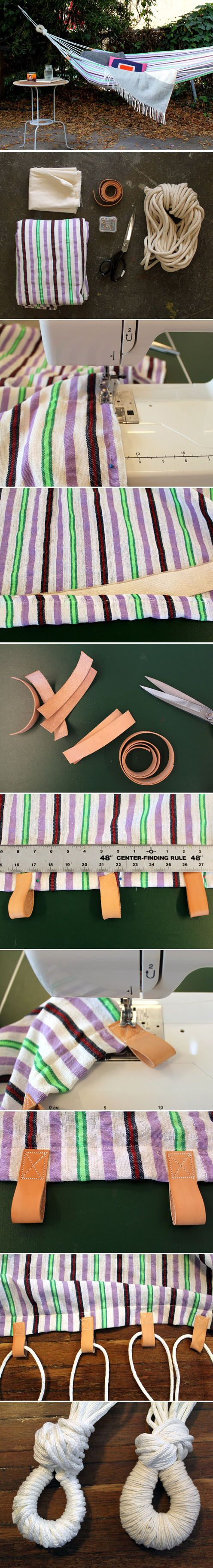 Dare I try this? I need a weight limit on my sewing lol!  Diy Easy Hammock   DIY  Crafts Tutorials