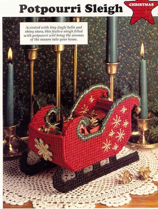 Potpourri Sleigh    plastic canvas pattern   Candy by puddinpop