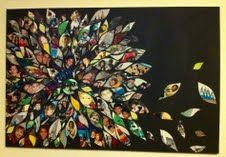 """Inspired by Pinterest - I had a shoe box full of photos, and wanted to do something more creative than a memory book or frames....Took some time, but I cut petals from the pictures and what was left of each, I made smaller """"filler"""" petals. I painted a 24x36 canvas in flat black acrylic and while it was drying, did a """"rough draft"""" on some photo-copy paper taped together in the same size as the canvas. Will be the main piece above my sofa...Think I will offset this with some self-adhesive wall…"""