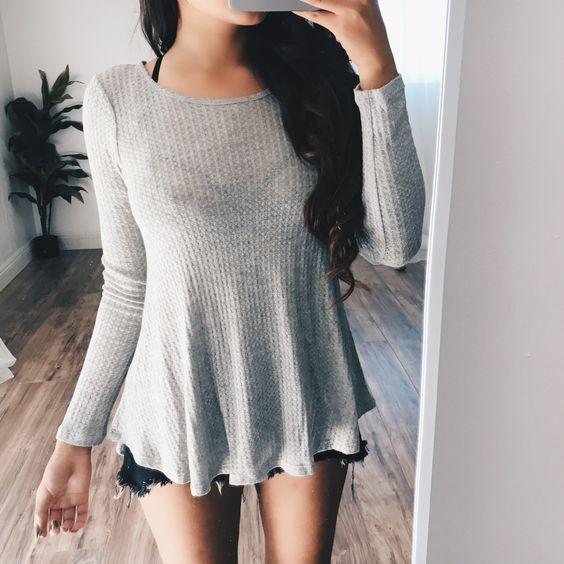 Brianna Grey Long Sleeve Blouse