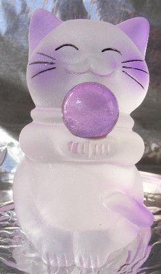 "MANEKI NEKO good fortune statue CAT Purple Kitten figurine 3"" acrylic Lucky Cat"