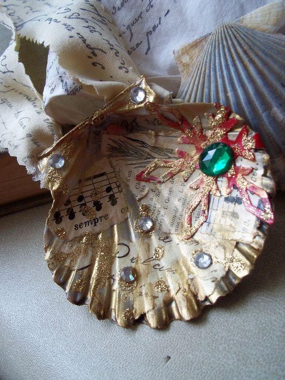 Seashell Ornaments Seashells And Decoupage On Pinterest