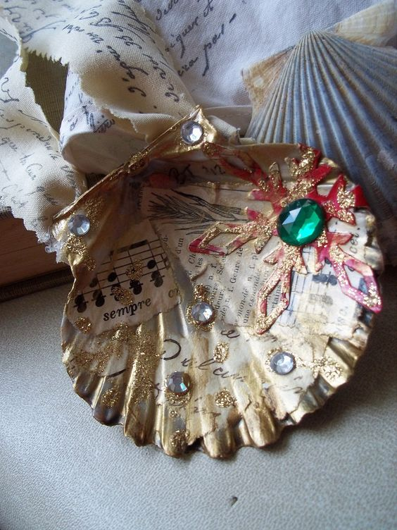 Seashell ornaments seashells and decoupage on pinterest for Seashell ornaments craft