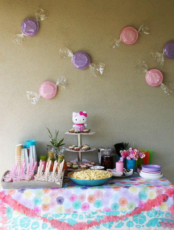 decoracin para fiestas infantiles platos pintados envueltos en celofn