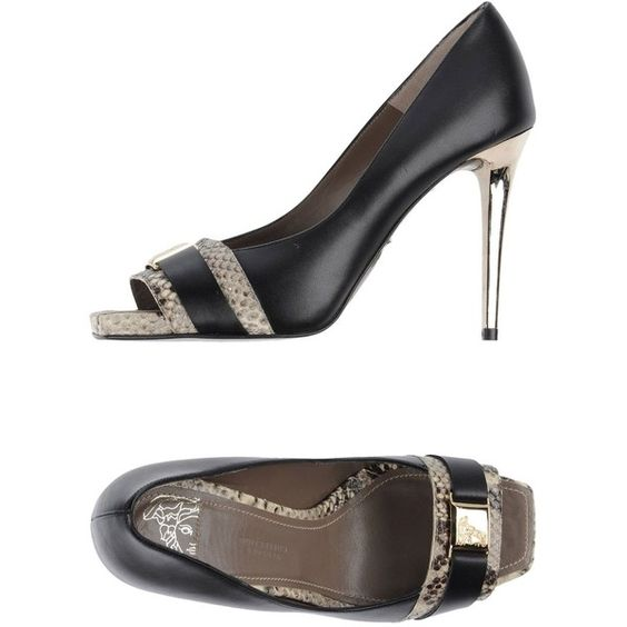 Versace Collection Pump ($526) ❤ liked on Polyvore featuring shoes, pumps, black, black shoes, leather pumps, versace, black leather pumps e black pumps