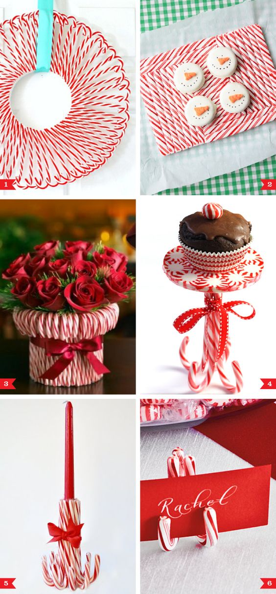Candy cane party decor ideas crafts christmas candles
