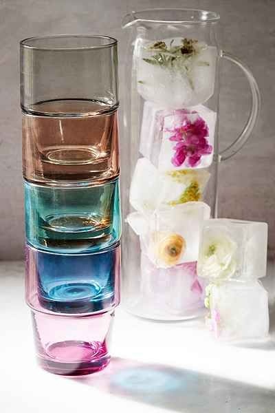 colorful stackable glassware