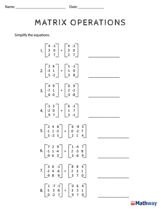 Printables Matrix Worksheets need practice with matrix operations print out this worksheet and use mathway
