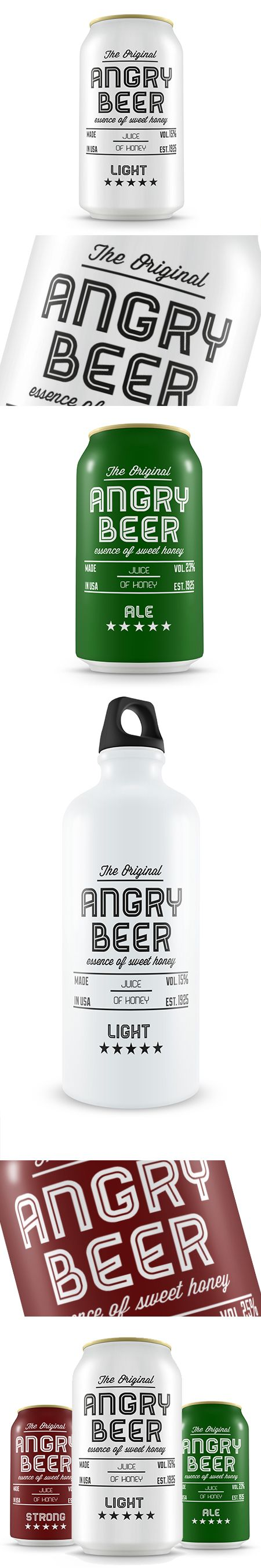 Angry Beer by Raffaele Cirillo. Looking at cans again, white background makes typography pop. Lovely sophisticated design.