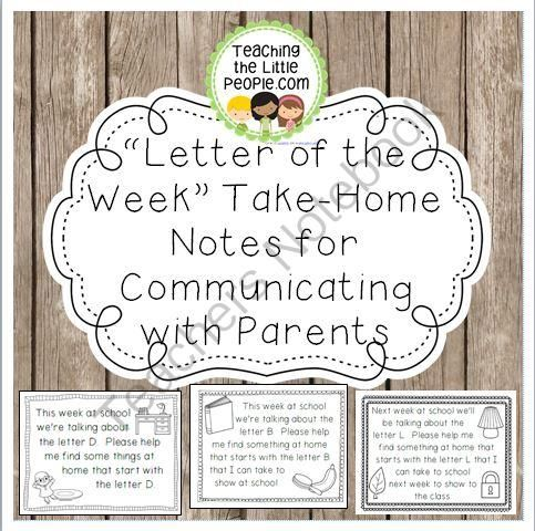 Letter Of The Week Take Home Notes For Parents From