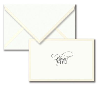 Engraved Pearl Border Thank You Note.