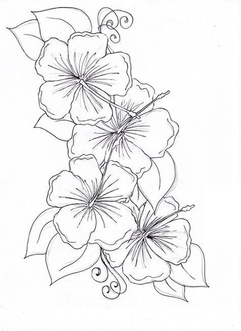 Hibiscus Flower Hibiscus Flower Drawing Coloring Page Hawaiian Flower Tattoos Hibiscus Flower Tattoos Flower Drawing