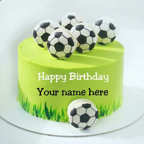 Write Name On Football Birthday Cake Cake Decorated With Football Sports Birthday Cake With Name Yummy Birthday Wishes Cake Cake Name Football Birthday Cake