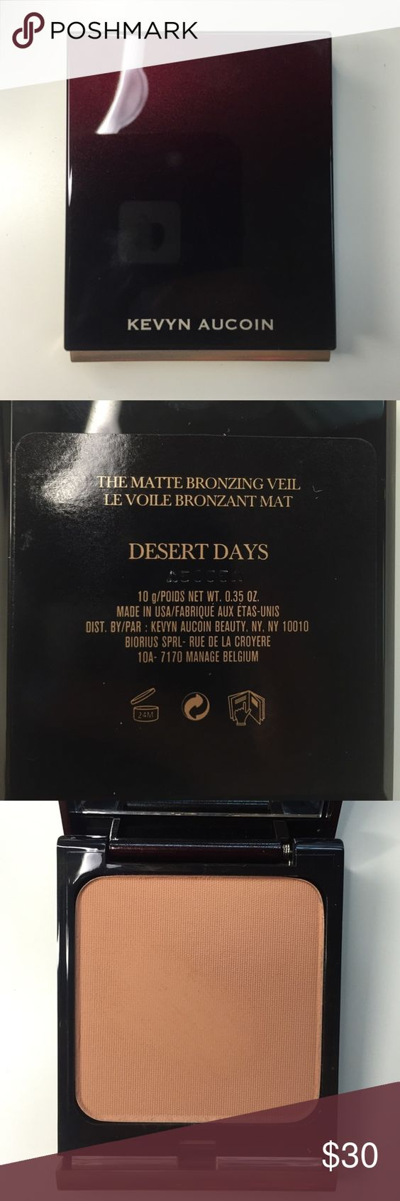 """Kevyn Aucoin The Matte Bronzing Veil NEVER USED only took a swatch with my clean finger. Kevin Aucoin the matte bronzing veil in the shade """"Desert Days"""". Perfect bronzer for fair skin. Comes with suede dust bag Kevyn Aucoin Makeup Bronzer"""