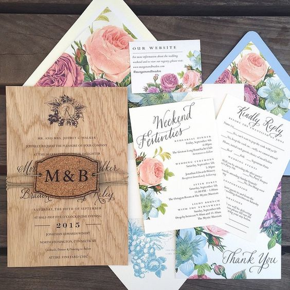 Custom wooden rustic vineyard wedding invitations from Tie That Binds in Portland, Oregon