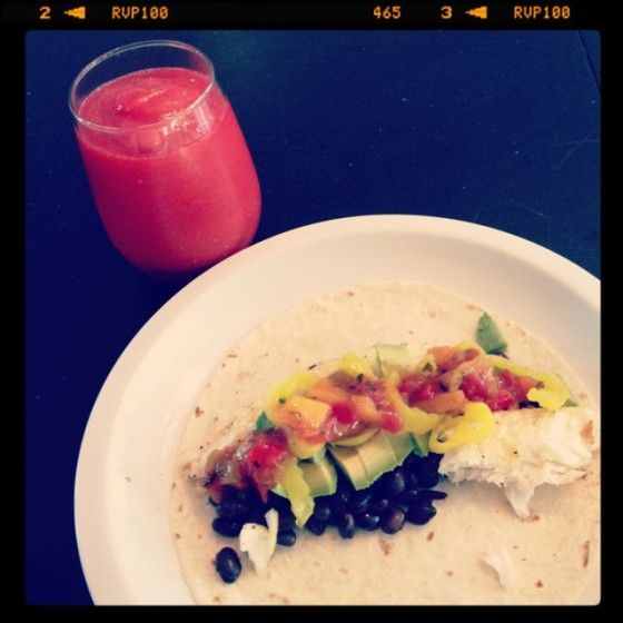 quick recipe:  frozen talapia from costco, sprinkled heavily with lemon pepper, cooked in olive oil.  add black beans, avocado, peach salsa, and pepperoncinis all wrapped in a flour tortilla- so yummy!