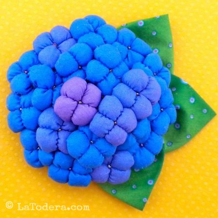 Hydrangea Brooches Pattern by La Todera Sewing and Craft Patterns  www.latodera.com