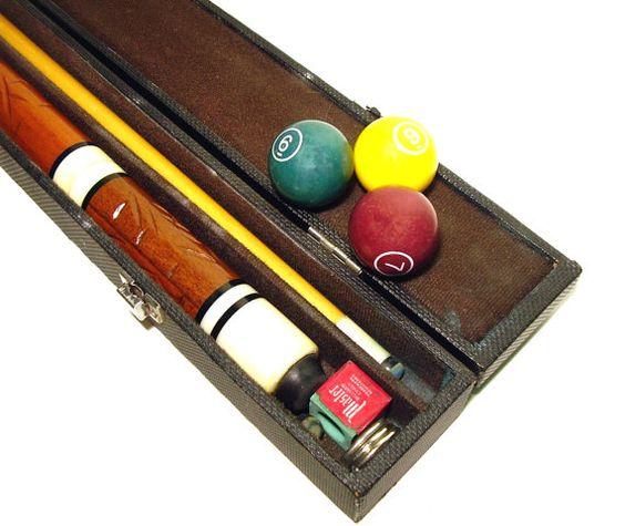 Vintage Pool Cue Billiards Stick Bakelite Inlay by OceansideCastle, $67.00