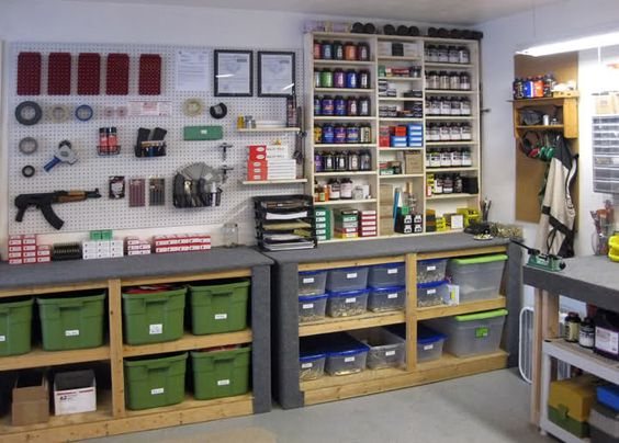 A well-stocked reloading room