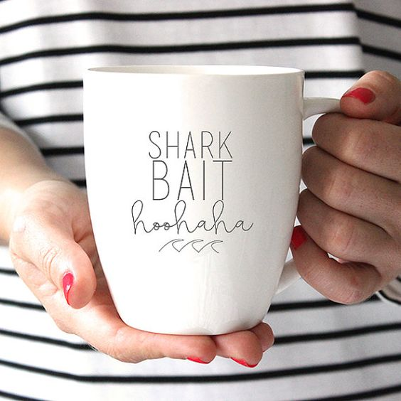 Finding Nemo Inspired Shark Bait HooHaha Ceramic Mug, Quote Mug, Coffee Lover, Tea Lover, Coffee Cup, Coffee Mug, Tea Cup
