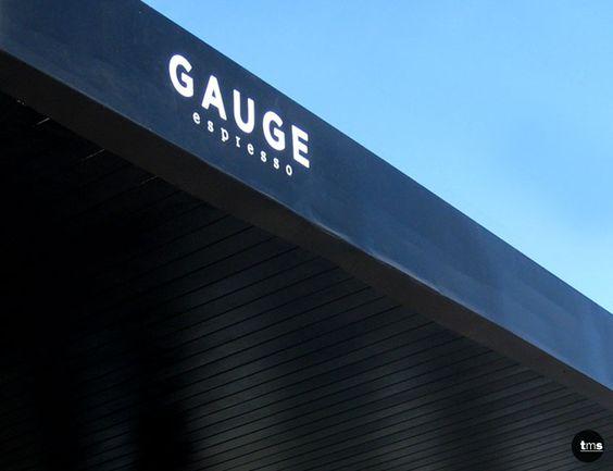 black fascia, white decal, gauge espresso, cafe signage
