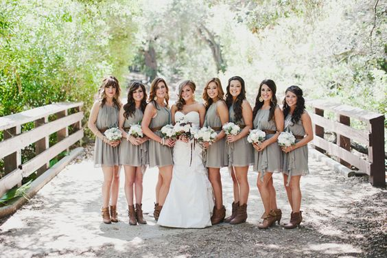 KICK IT- Whether you are the bride or the bridesmaids, grab your rainboots, cowboy boots, or just any boots and join this trend.