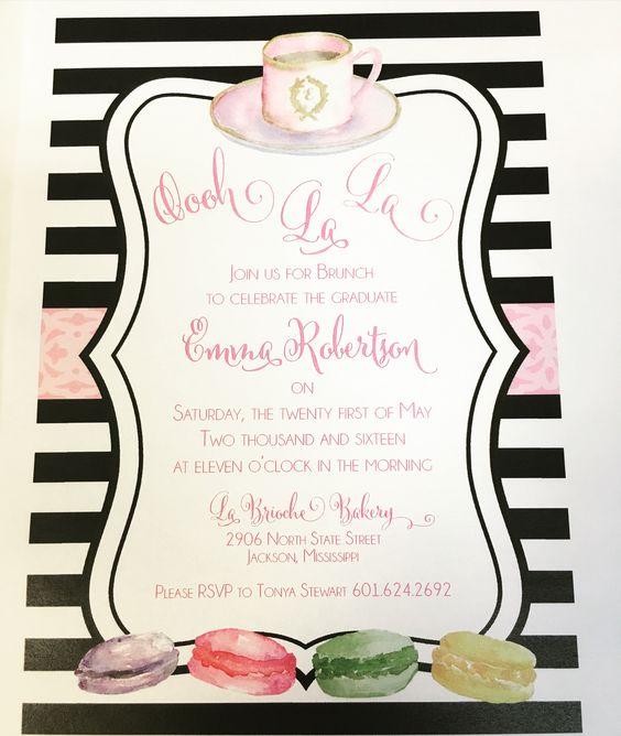 Macarones for a graduation celebration brunch invitation - graduation programs