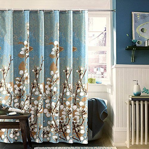 Ufaitheart Magnolia Flower Pattern Fabric Shower Curtain Extra Long Shower Curtain 78 X 78 Blue And Brown Curtains Long Shower Curtains Fabric Shower Curtains