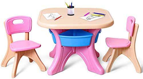 Amazon Com Costzon Kids Table And 2 Chair Set Children Activity Art Table Set W Detachable Storage Bins Strong Bea Kids Table And Chairs Art Table Kid Table
