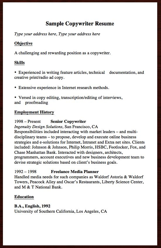 If you are looking for a job related Copywriter , and you want to - copywriter resume