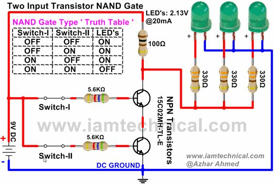 36fac812c8b5de7b3a8d58f1a58623ab nand gate circuit diagram nand gate using npn transistor iamtechnical com logic gates Single Pole Switch Wiring Diagram at creativeand.co
