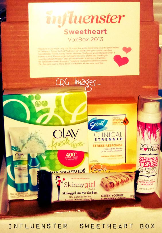 Sweetheart 2013 Voxbox    My Box Contained the following:    ~ Olay Fresh Effects System $13 Value    ~ Secret Clinical Strength Deodorant $8 Value    ~Not Your Mother's Hair Spray Sample $2 Value     ~Skinny Girl Blueberry Bar $2 Value    This Voxbox has a total value of $25 Dollars!!!