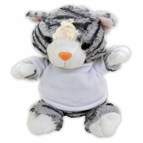 Lindo gatito de peluche con camiseta personalizada.