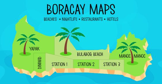 To help you find your way around Boracay Island I've created 5 detailed maps - each covering a different topic. The location markers on the maps show pictures and descriptions of each place so that you get a good feel of what each place is like.