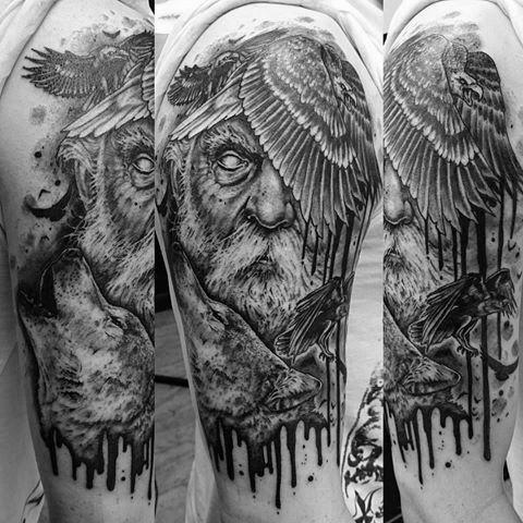 60 Odin S Ravens Tattoo Designs For Men Huginn And Muninn
