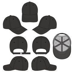 Baseball Cap Black 2018 Vector Illustration Flat Sketches Template Baseball Caps Fashion Technical Drawing Fashion Flats