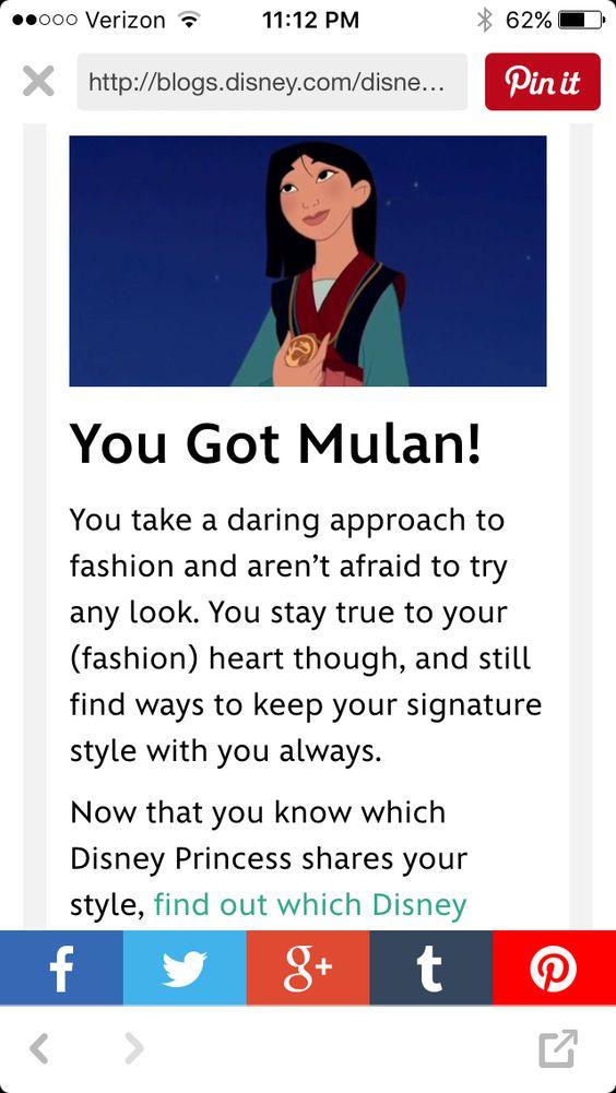 I took a Disney princess style quiz and got Mulan! Yay!