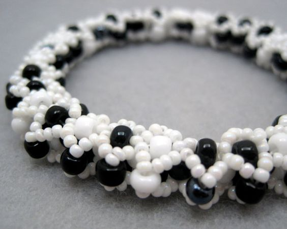 Beaded Bangle Bracelet  White and Black Diamonds by randomcreative, $35.00